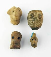 *SC*LOT OF FOUR PRE-COLUMBIAN MEXICO  POTTERY HEADS, 500 BC-500 AD!