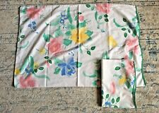 Vintage Set of 2 Utica Multi Color Flowers Floral Scalloped Trim Pillowcases