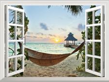 Sunset Relaxed Beach 3D Window View Decal WALL STICKER Home Decor Art Mural