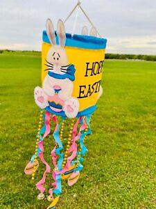 "Hoppy Easter Bunny Windsock Indoor Outdoor Wind Chime 24"" Springtime Decor"
