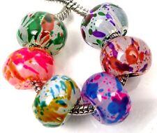 6 Colorful Glass Big Hole European Fit Charm Bracelet Rondelle Beads