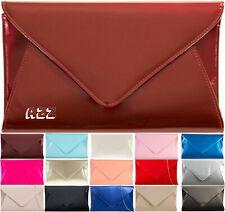 Women's Patent Leather Envelope Design Shoulder Chain Ladies Wet Look Clutch Bag