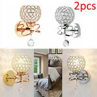 2PCS Modern Chrome Crystal LED Wall Light Lamp Bedroom Living Room Home Decor