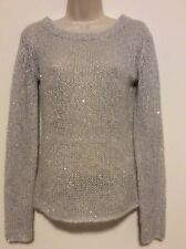 KNC Femme Gray Silver juniors long Sleeve Knit Sweater Sequined  S