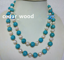 "36"" turquoise AAA SOUTH SEA NATURAL White PEARL NECKLACE EARRING SET 14K GOLD"