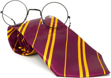 Skeleteen Wizard Glasses and Tie - Maroon and Gold Dress Up Tie and Black Round