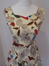 Sweetheart Rockabilly dress. Quirky retro floral and bird print.