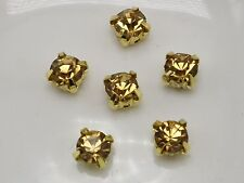 200 Golden with Gold Crystal Glass Rose Montees 5mm SS18 Sew on Rhinestones Bead