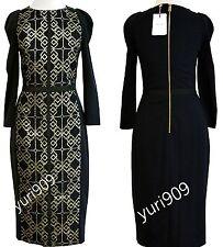 Ted Baker London Black Mikha Metallic Jacquard Panel Dress Size 3 (US 8) $335