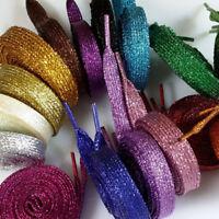 Unisex Shoelaces Metallic Glitter Flat Bootlace Sneaker Shoe Laces Shoe Strings