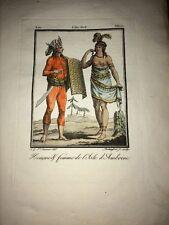 INDONESIE. HABITANTS DE L'ÎLE D'AMBOINE (AMBON)GRAVURE EN COULEURS DE 1806