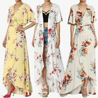 TheMogan Floral Print Flutter Sleeve Wrap Maxi Dress Cover Up Duster Cardigan