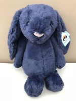 NEW Jellycat Medium Navy Bashful Bunny Rabbit Soft Toy Comforter Blue Baby BNWT