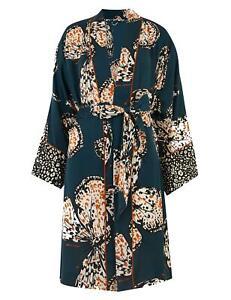 Ladies Satin Kimona Robe Butterfly Print Wrap Dressing Gown