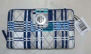 VERA BRADLEY RFID Turnlock & Zip Wallet - Santiago Woven Plaid Blue New with Tag