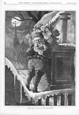 Santa Claus  - On Roof  -  With Pack of Toys   -   by C. G. Bush  -  1870