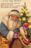 Rare~Blue Robe~Happy Santa Claus  with Tree~Toys~Antique Christmas Postcard-a38