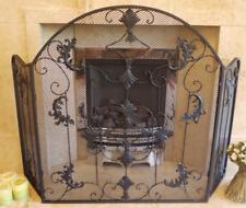 Arched Black Wrought Iron Fireguard Ornate Mesh 3 Panels Folding Fire Screen New