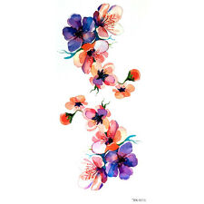 Púrpura Rosa Flor Flor Pegatinas Tatuajes Temporales Body Art 3D Impermeable UK