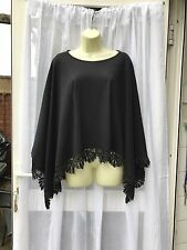 BEAUTIFUL BLACK PONCHO With Lace Sz  12 But Free Size FESTIVAL / ARM COVER UP