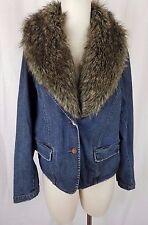 Venezia Faux Fur Trim Denim Blue Jean Wide Lapel Blazer Jacket Womens 14 16