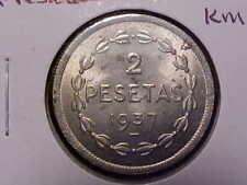 1937 Spain Civil War 2 Pesatas in AU KM#2