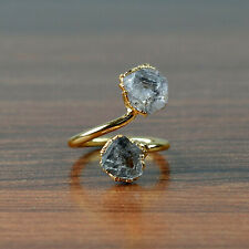 Natural Herkimer Diamond Stackable Fashion Adjustable Gold Plated Gemstone Ring