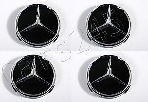 Genuine Wheel Center Hub Cap Star Black Chrome Covers 4x SET MERCEDES 66470200