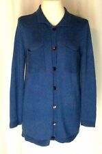 Monterey Bay Blue Collared Cardigan Sweater w/ Pockets Womens Size M