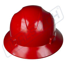 RED HARD HAT FULL BRIM JORESTECH 4 POINT RATCHET SUSPENSION CONSTRUCTION ANSI