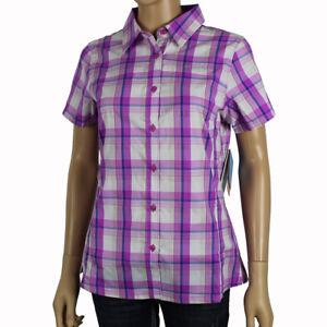 "New Womens Columbia ""Meadowgate"" Plaid Omni-Shade Vented Short Sleeve Shirt"