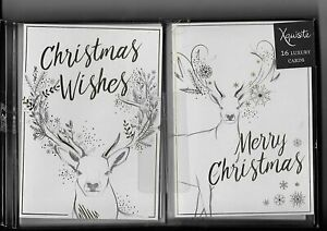 16 Christmas Cards Stags - 16 Cards, 8 of Each Design