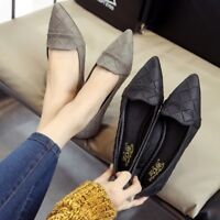 Women Casual Loafers Pointed Toe Low Heel Pump Flats Shoes Slip On US Size 4.5-8