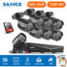 SANNCE 4CH / 8CH 1080P HDMI DVR 720P 1500TVL CCTV IR Security Camera System 1TB