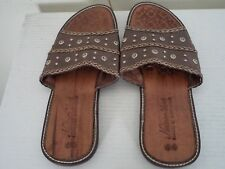 Men's Dark Brown Handmade Nesinco Leather Slippers. American 11, Euro 44