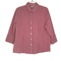 Kim Rogers Womens Size XL Blouse Button Front 3/4 Sleeve Red White Checkered
