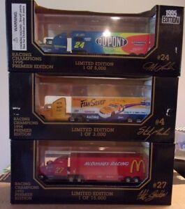 Lot of 3 Racing Champions 1:87 Die-cast Transporters ~ Gordon Stricklin Marlin