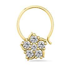 WOMEN'S 14K YELLOW GOLD FINISH SIM DIAMOND FLOWER NOSE PIERCING STUD RING PIN