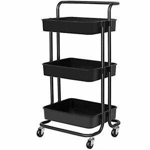 3-Tier Rolling Carts with Wheels Storage Cart Makeup Cart with Roller Wheels Mob