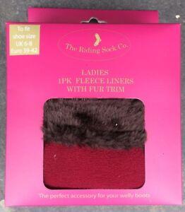 Fleecy Fur Topped Fleece Welly Socks. Warm & Toasty. Boot Liners. Ladies 3-5