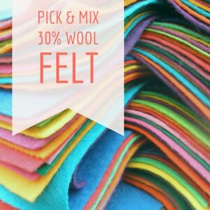 Wool Blend Felt Square - Pick & Mix from 48 Colours - 9 inch / 22cm Squares