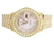 Rolex President 18K Yellow Gold Day-Date 36MM 18038 Pink Dial Diamond Watch 4 Ct
