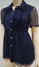 PAUL & JOE SISTER Midnight Navy Blue Satin Chiffon Short Sleeve Blouse Top UK12