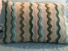 """Crate And Barrel 12"""" x 18"""" Embroidered Decorative Pillow Down Filled"""