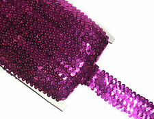 STUNNING 4 ROW ELASTIC STRETCH SEQUIN TRIM 38MM, VARIOUS COLOURS, SOLD BTM