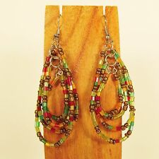 "2""  Multi Color Teardrop Multi Hoop Handmade Seed Bead Hook Earrings"