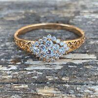 VINTAGE High End Rhinestone Crown Bracelet- Gold tone- BEAUTIFUL 101