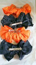 4 Ladies or Childrens Hair Bows Orange and Black Halloween