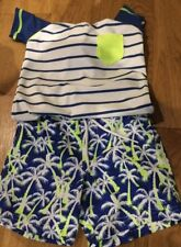 Next Navy Palm Tree Swim Shorts And Blue Striped Vest Two Piece Set 1.5 - 2years