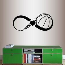 Vinyl Decal Basketball Infinity Sign Hearts Sports Girls Room Wall Sticker 2259